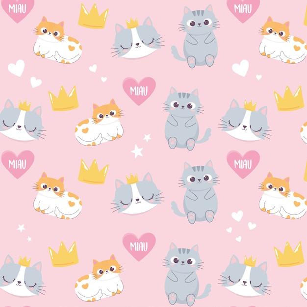 Cabeças de gatos bonitos coroa amor coração cartoon animal personagem engraçada de fundo Vetor Premium