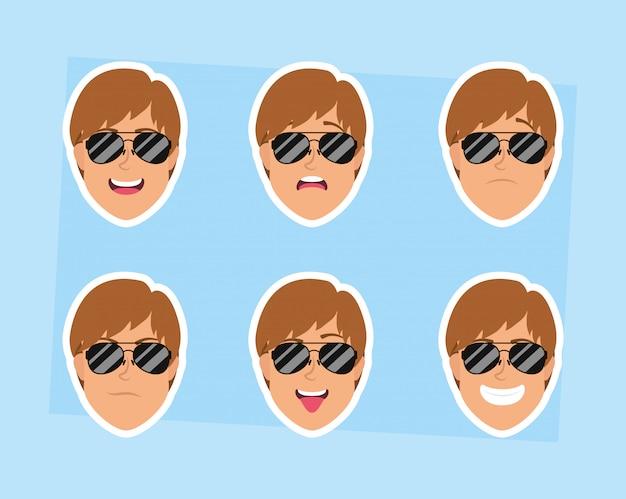 Cabeças de jovens com caracteres de óculos de sol Vetor Premium