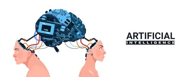 Cabeças masculinas e femininas com ciborgue cérebro moderno isolado no fundo branco inteligência artificial Vetor Premium