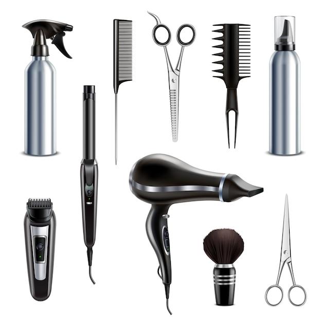 Cabeleireiro barbearia estilo ferramentas coleção realista com secador de cabelo tesoura aparador aparador escova de barbear isolado ilustração vetorial Vetor grátis
