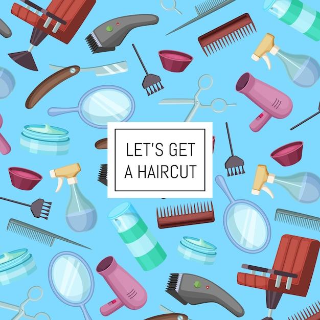Cabeleireiro barbeiro cartoon elementos com lugar para texto Vetor Premium