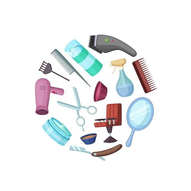 Cabeleireiro barbeiro cartoon elementos no círculo isolado no branco Vetor Premium