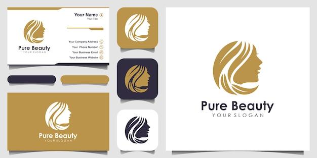 Cabeleireiro mulher com logotipo do conceito de natureza e cartão de visita. Vetor Premium