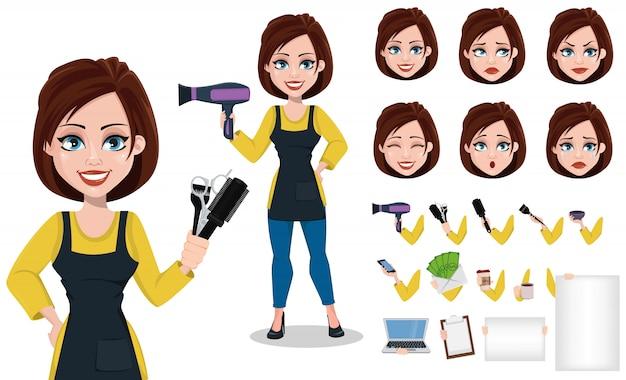 Cabeleireiro mulher em uniforme profissional Vetor Premium