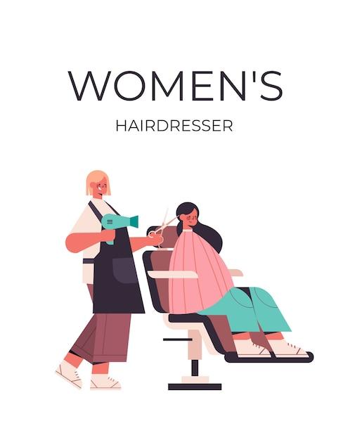 Cabeleireiro usando secador de cabelo e tesoura fazendo penteado para cliente em ilustração vetorial de comprimento total de salão de beleza Vetor Premium