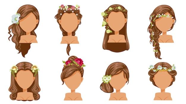 Cabelo flor. penteado de noiva, acessórios de princesa. penteado bonito. moda moderna para sortimento. corte de cabelo da moda salão longo, curto e encaracolado. Vetor Premium