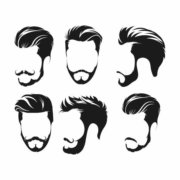 Cabelo hipster, bigodes e barbas Vetor Premium