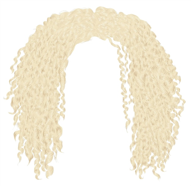 Cabelo loiro africano encaracolado e desgrenhado da moda. 3d realista. afro unissex Vetor Premium