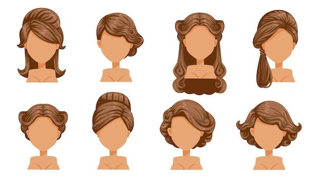 Cabelo retrô feminino. penteados vintage de mulheres. cabelo enrolado, cabelo finamente enrolado. antiquado. o clássico e moderno. penteados de salão para corte de cabelo. Vetor Premium