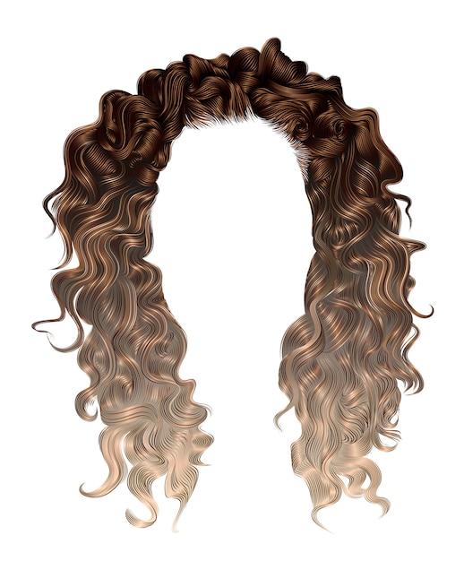 Cabelos longos encaracolados da mulher coloração destacando. Vetor Premium