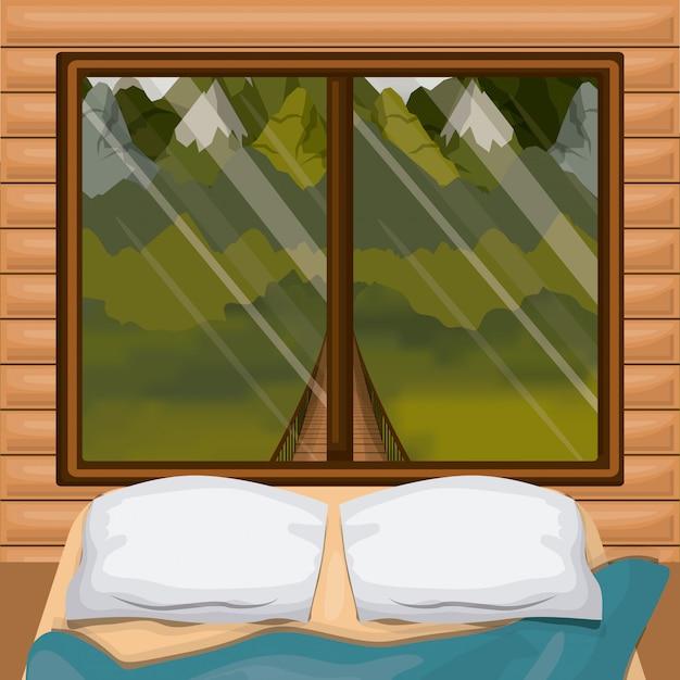 Cabine de madeira interior de fundo colorido com cama e floresta cenário por trás da janela Vetor Premium