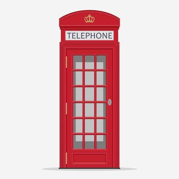 Cabine de telefone vermelho da rua de londres Vetor Premium