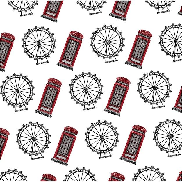 Cabine telefônica britânica com padrão de roda panorâmica Vetor Premium