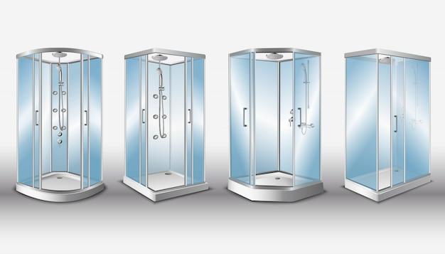 Cabines de duche com portas de vidro transparente e sistema de chuveiro moderno, isolado. Vetor Premium