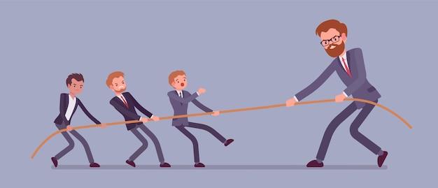 Cabo de guerra, homens vs banner gigante Vetor Premium