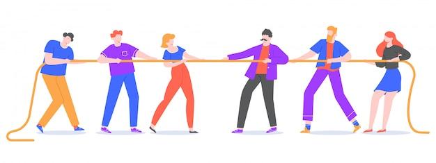 Cabo-de-guerra. os jovens puxam a corda, equipes opostas na competição de puxar a corda. competições corporativas e ilustração de jogo de reboque ativo. personagens concorrentes lutando Vetor Premium