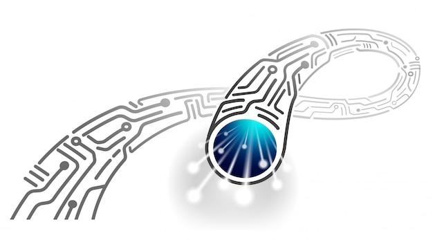 Cabo digital de alta velocidade no futuro design do novo cabo de fibra óptica monocromático resumo. Vetor Premium