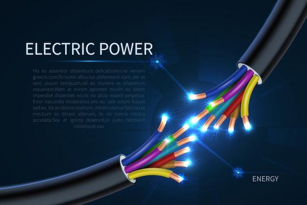 Cabos de energia elétrica, fios elétricos de energia abstraem base industrial Vetor Premium