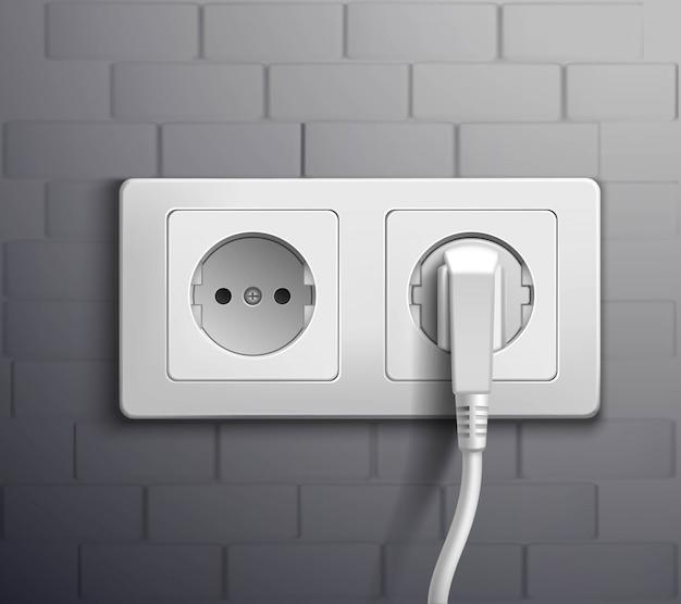 Cabos de tomada elétrica conectados Vetor grátis