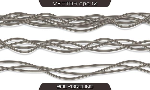 Cabos elétricos. fios industriais cinzentos elétricos realísticos Vetor Premium