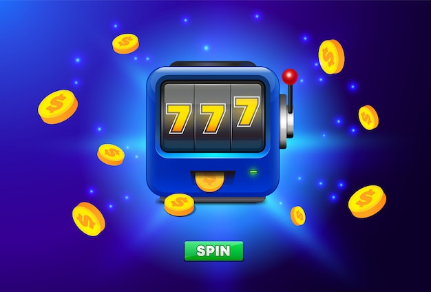 Caça-níqueis isolado sobre fundo azul, com lugar para texto. ícone de caça-níqueis com chuva de moedas de ouro. 777 slot machine. Vetor Premium