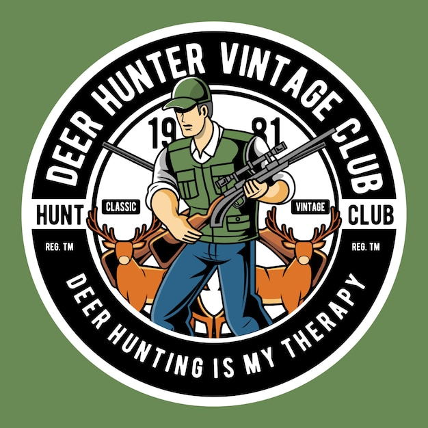 Caçador de cervos Vetor Premium