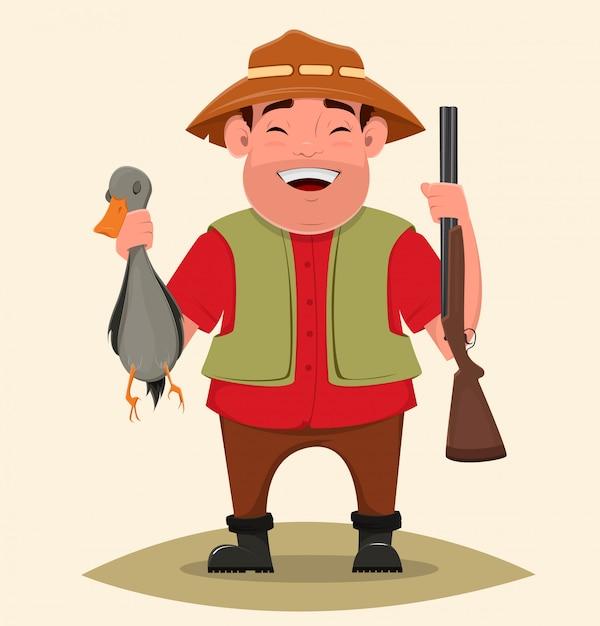 Caçador que guarda o rifle e o pato disparado. Vetor Premium