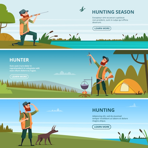 Caçadores no modelo de banner de caça. ilustrações dos desenhos animados de caça Vetor Premium