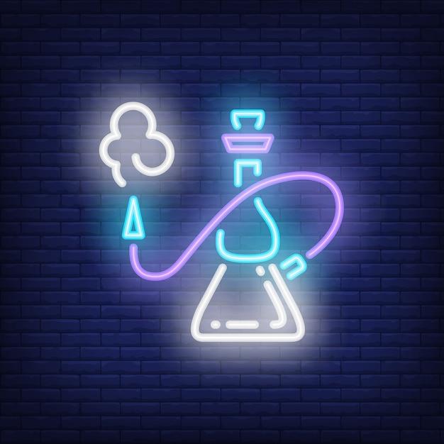 Cachimbo de água com ícone de estilo de néon de fumaça Vetor grátis