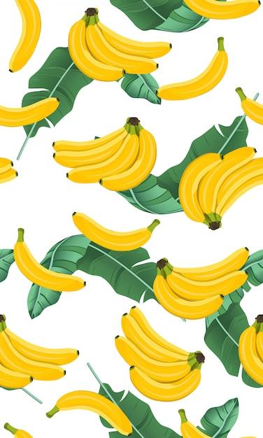 Cacho de banana sem costura padrão com folhas de bananeira Vetor Premium