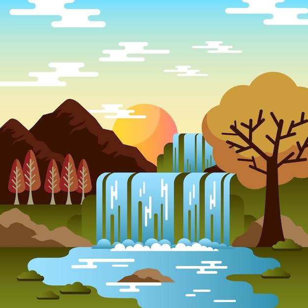 Cachoeira de outono com árvores e pedras Vetor Premium