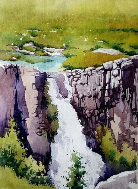 Cachoeira desenhada à mão em aquarela na ilustração da paisagem da caverna Vetor Premium