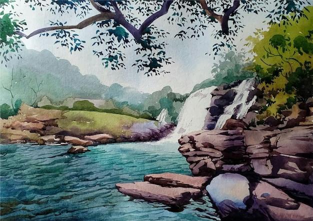 Cachoeira desenhada à mão em aquarela na ilustração da paisagem da floresta Vetor Premium