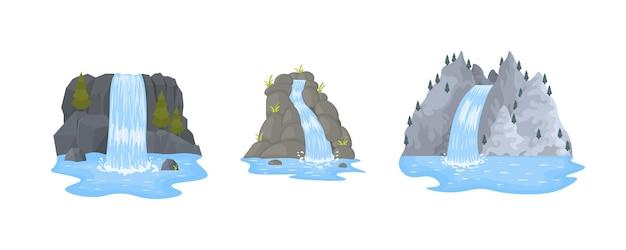 Cachoeira do rio cai de um penhasco em fundo branco. pitoresca atração turística com pequena cachoeira e águas claras. paisagens de desenhos animados com montanhas e árvores. Vetor Premium