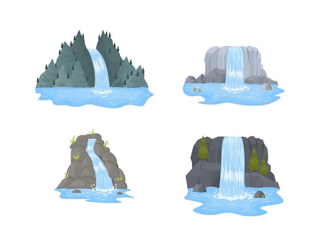 Cachoeira do rio cai de um penhasco em fundo branco Vetor Premium