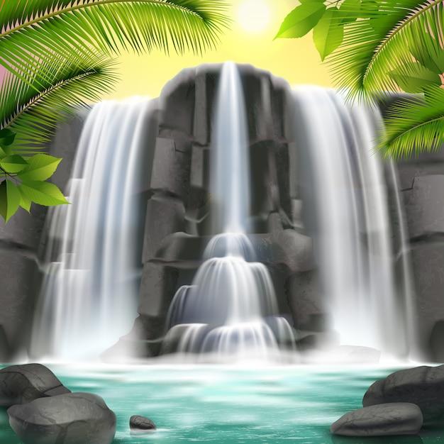 Cachoeira e rochas realistas Vetor grátis