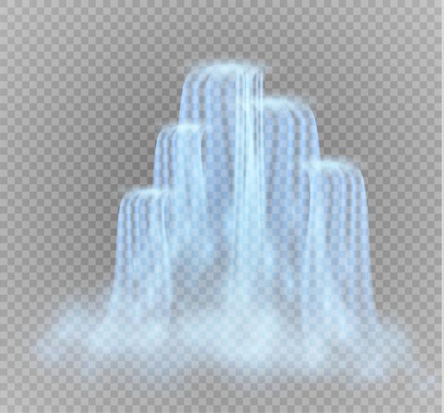 Cachoeira, em fundo transparente. ilustração. um fluxo de água. Vetor Premium