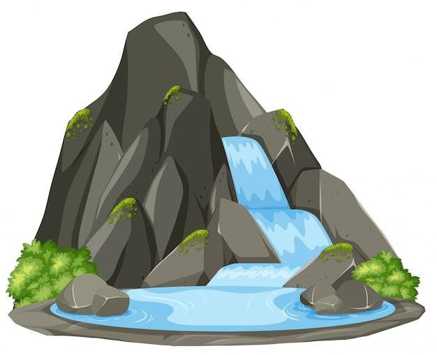 Cachoeira isolada no fundo branco Vetor Premium