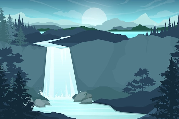 Cachoeira na cordilheira. pedras e água. lagoa e lago. paisagem natural. estilo de ilustração plana de desenho animado Vetor grátis