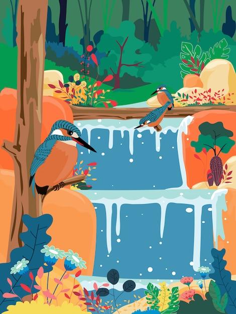 Cachoeira na selva Vetor Premium