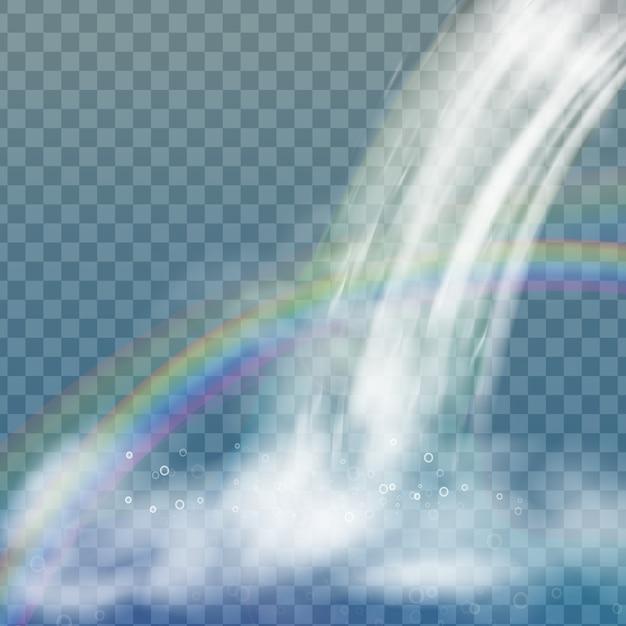 Cachoeira realista com água limpa, arco-íris e bolhas. elemento natural para imagens de paisagem de design. isolado em fundo transparente Vetor Premium