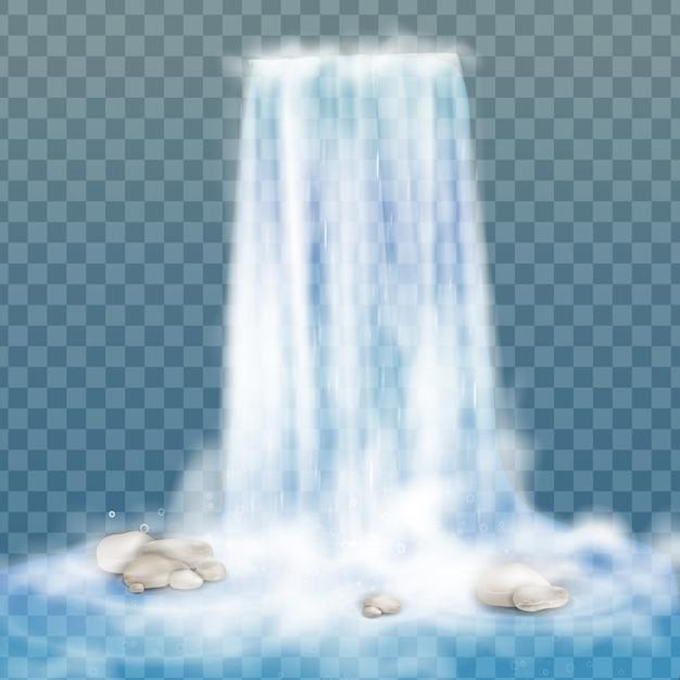 Cachoeira realista com água limpa e bolhas. elemento natural para imagens de paisagem de design. isolado em fundo transparente Vetor Premium