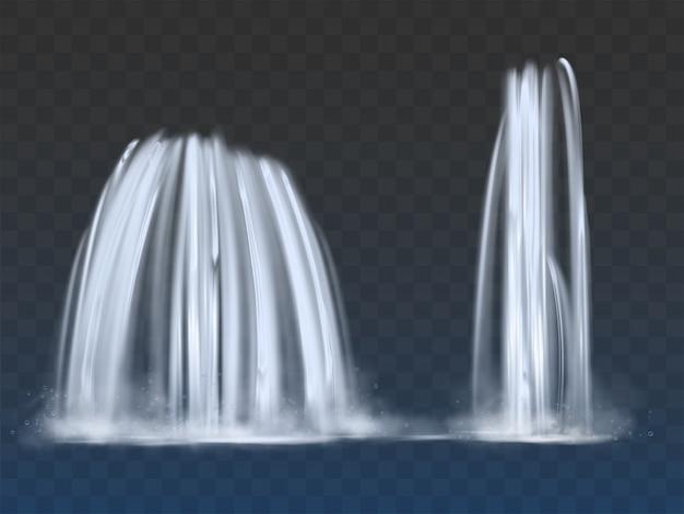 Cachoeiras ou fontes fluem 3d realista vector Vetor grátis
