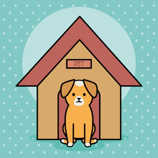 Cachorrinho adorável com casa de madeira Vetor grátis