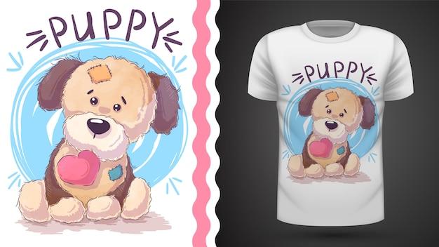 Cachorrinho com coração - ideia para impressão t-shirt Vetor Premium