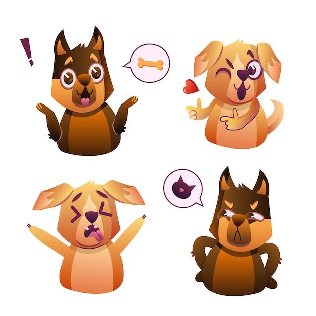 Cachorrinho pequeno do cão do animal de estimação do pug com coleção do colar de expressões faciais do emoji Vetor grátis