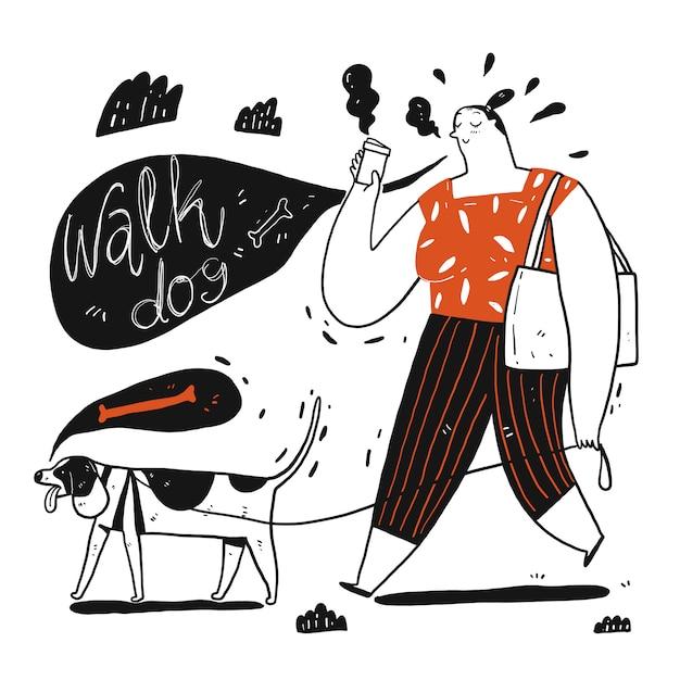 Cachorro andando de mulher segurando uma xícara de café. coleção de mão desenhada, ilustração vetorial no estilo de desenho sketch. Vetor Premium