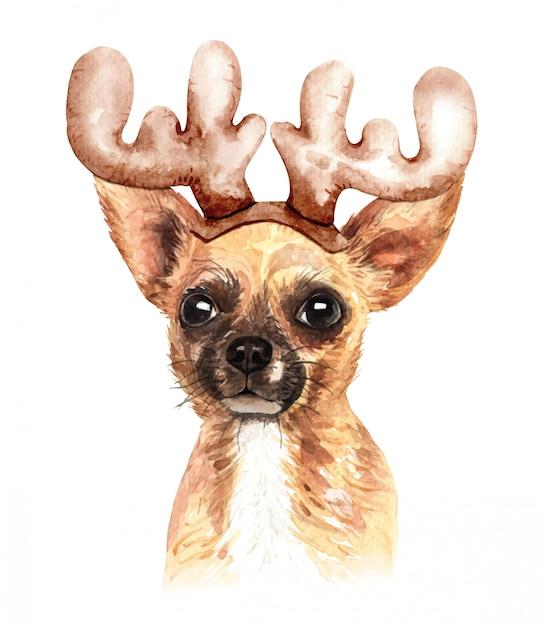 Cachorro chihuahua aquarela com chapéu de chifre de rena Vetor Premium