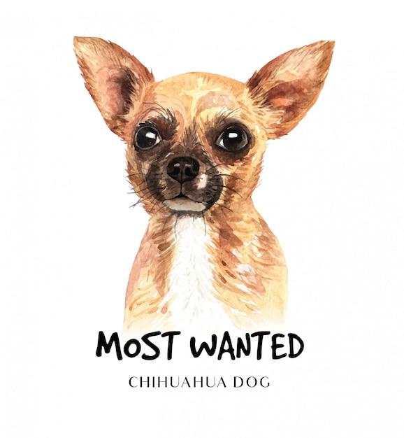Cachorro chihuahua retrato para impressão Vetor Premium
