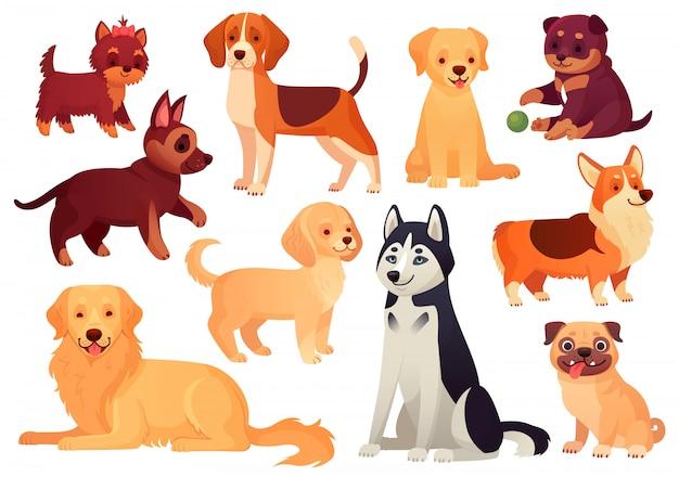 Cachorro e cachorrinho de desenho animado. filhotes felizes com focinho sorridente, cães leais e cão isolado conjunto amigável Vetor Premium